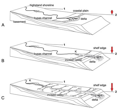 Fig. 2  Incised and unicised (bypass) fluvial systems formed during base-level fall.