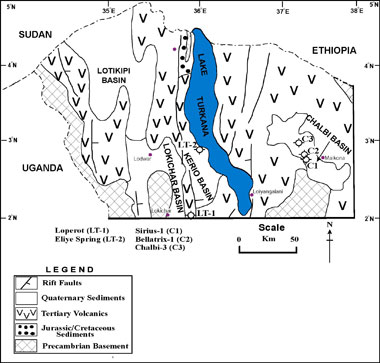 Fig. 8: Map showing Wells drilled in the basins of the study area